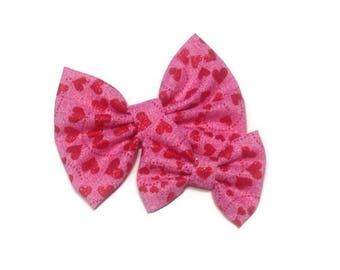 Glitter Hearts Valentine's Day Bow   Fabric Bow   Handmade Hair Bow   Hair Clip   Headband