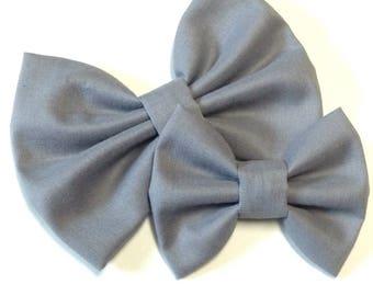 Gray Solid Bow   Fabric Bow   Handmade Hair Bow   Hair Clip   Headband