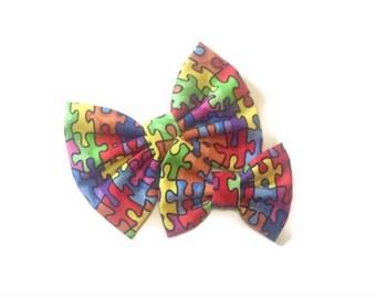 Autism Awareness Bow   Benefits Charity   Fabric Bow   Handmade Hair Bow   Hair Clip   Headband