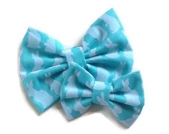 Velvet Bunny Bow   Fabric Bow   Handmade Hair Bow   Hair Clip   Headband