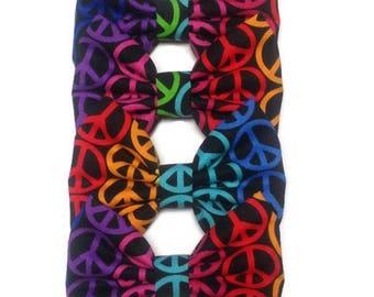 Rainbow Peace Sign Bow   Fabric Bow   Handmade Hair Bow   Hair Clip   Headband