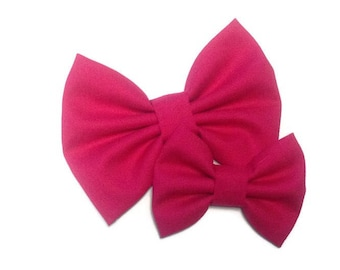 Pomegranate Pink Bow | Fabric Bow | Handmade Hair Bow | Hair Clip | Headband