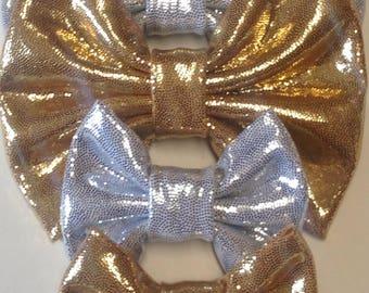 Silver and Gold Christmas Bow | Fabric Bow | Handmade Hair Bow | Hair Clip | Headband