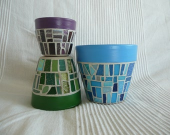 Cool Funky Mosaic Flower Pots - Set of 3 - choose your colour mix - Patchwork