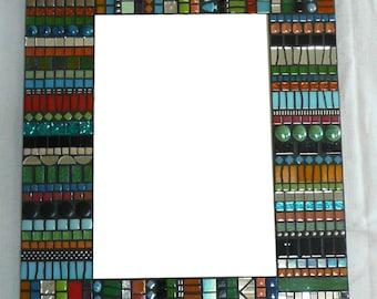 Mosaic Mirror BoHo Style in Aqua, Lime, Orange, Black and Silver