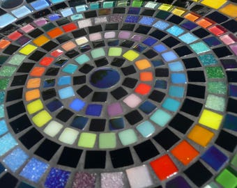 Big Mosaic Bird Bath Black with a contrasting Rainbow Design - Love Peace Equality Unity  MADE TO ORDER