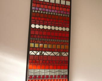 INDISTINCT CHATTER No. 1 - Contemporary Mosaic Wall Art - Abstract in Red and Silver