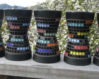 Knight Rider Funky Contemporary Black Mosaic Planters - 10 available - please choose!