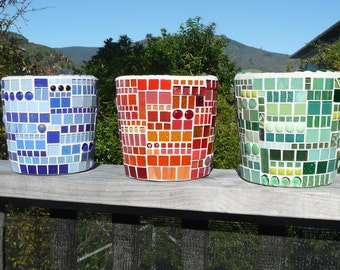 Contemporary Mosaic Blue Pot Planters Red Blue Green Line Up
