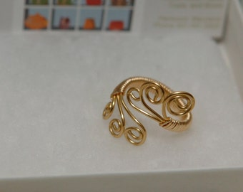 Wire Wrapped Ring, Gold wire J11
