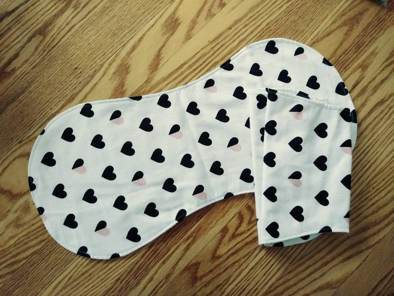 contoured baby burp cloths flannel Set of 3 white and black hearts