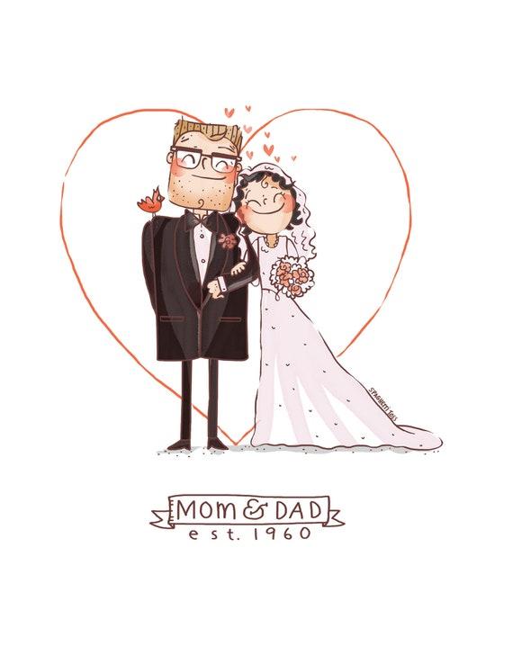 Custom Print Couple Cartoon Drawing Anniversary Wedding Etsy