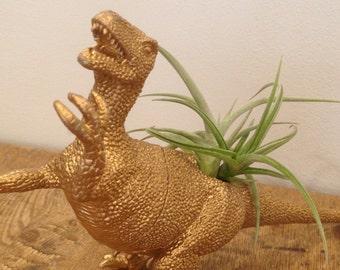 Gold Dinosaur Tillandsia Planter // Air Plant Dinosaur Pot // Utahraptor