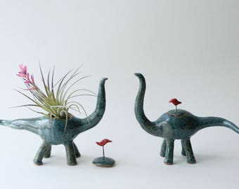 Small Ceramic Apatosaurus with Lid and Red Bird Handle