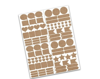 100+ Planner Stickers - Smash book stickers - Blank Labels - Kraft Labels - Planner Accessories - Blank Stickers - Journaling Stickers