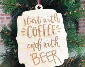 Fancy Black /& Tan Beer Ornament with Red Tinsel  Barley and Hops Beer Christmas Ornament  Beer Gifts  Beer Stocking Stuffers Brown Ale