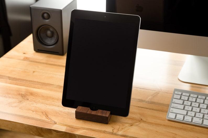 iPad Stand/ Walnut/ Tablet Stand/ iPad/ iPad Station/ tech image 0