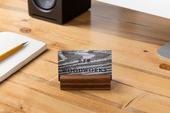 Wooden business card holder walnut desk business cards card etsy image 0 reheart Choice Image