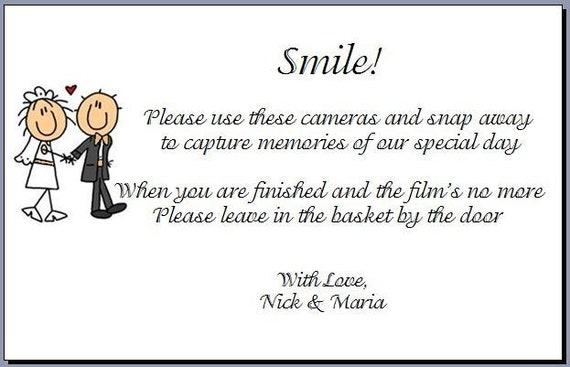 Hochzeit Einweg Kamera Gedicht Karten Für Ihre Gäste Tabellen