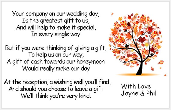 Wedding Poem Cards Tree Designs Requesting Cash Toward Etsy