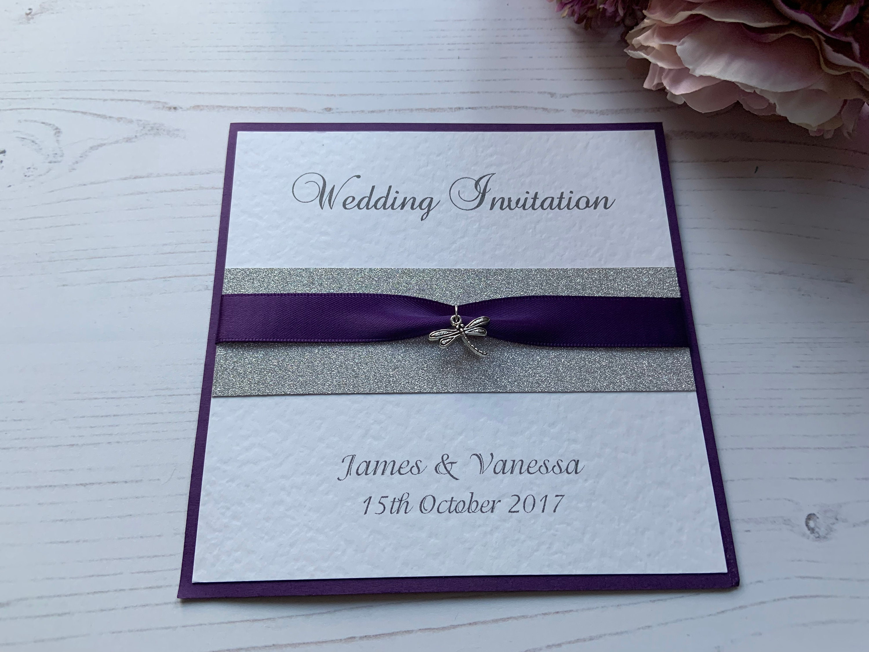 Flat Wedding Evening Invitations Teal Ribbon /& Silver Heart Charm