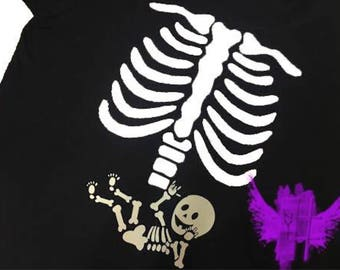 custom - pregnancy - skeleton - shirt - with - glow - in - the - dark - baby