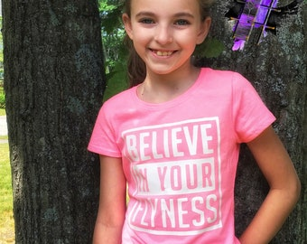 "Custom - "" believe - in - your - flyness "" - tank - or - cotton - blend - youth- soft - t-shirt"