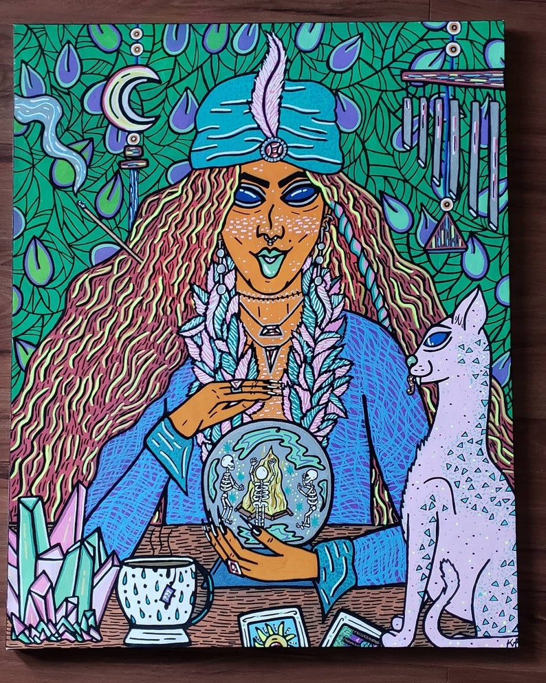 Fortune Psychic Surreal Colorful Blue Pink Orange Feathers Large Canvas Woman Cat Skeletons Crystal Ball Artwork Art Acrylic Home Painting