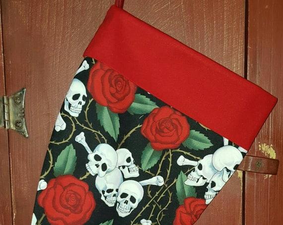Roses & Skull  Christmas Stocking