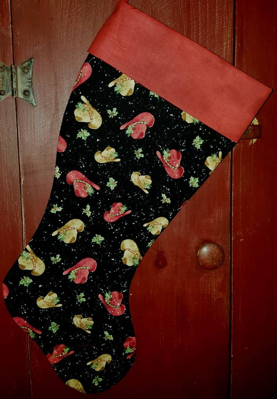Country Hat Christmas Stocking