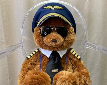 Airline Pilot Bear, Captain Ted with Lanyard and Badge Holder, Large Bear, Pilot Uniform, Custom Made