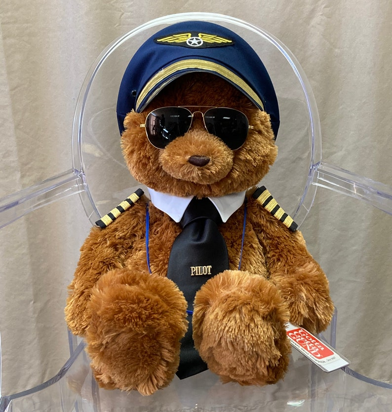 Airline Pilot Bear Captain Ted with Lanyard and Badge Holder image 1