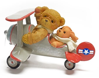 Warren from Cherished Teddies, Limited Edition Collectible Figurine, Teddy Bear and Puppy in Biplane, Flying Teddy Bear, Barnstormer Pilot