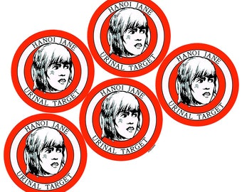 Hanoi Jane Urinal Target, Select Package of 5 or Package of 10, Red & Black On White, Round Sticker, Weatherproof Vinyl