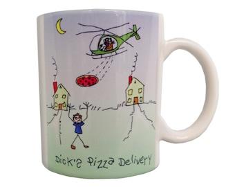 Dicks Pizza Delivery Coffee Mug, Original Artwork Stick Figure, Helicopter, Aviation, Pilot