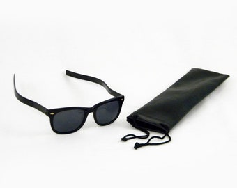 Opticpros Model A5 Long Bow Sunglasses, Black Plastic, includes Carrying Pouch
