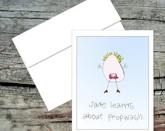 Jane Learns About Propwash Blank Notecard, Dick and Jane, Original Art, Handmade Card, Aviation Theme, Pilot Humor