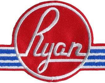 Ryan Aircraft Logo Embroidered Patch, Large Jacket Patch, Iron-On or Sew-On