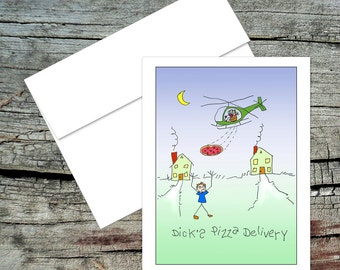 Dick's Pizza Delivery Blank Notecard, Dick and Jane, Original Art, Handmade Card, Aviation Theme, Pilot Humor