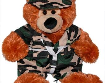 "14"" US Special Forces Plush Bear, Bob the Bear, Stuffed Animal, Military Bear, Camouflage Uniform"