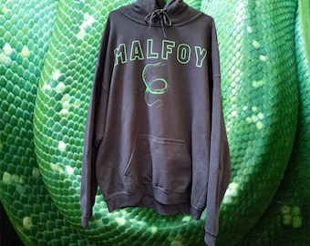 Rare Draco Malfoy Snake Graphic Harry Potter Black Pull Over Hoodie Size Large