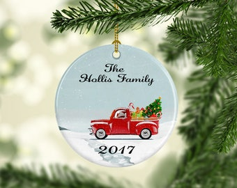 Christmas ornament, old truck ornament, first Christmas, Newlywed Christmas ornament, christmas gift box, new home ornament, family ornament