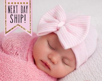 Baby hospital hat, newborn hat, newborn girl hat, newborn hospital hat, baby hats, hospital bow hat, hospital cap, baby beanie, girl hat