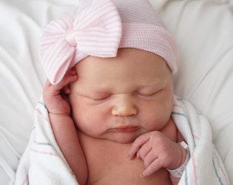 1f74aa30704acf Baby hospital hat, newborn hat, newborn girl hat, newborn hospital hat, baby  hats, hospital bow hat, hospital cap, baby beanie, girl hat