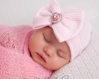 Newborn Photo Prop, baby girl hat,newborn baby girl hat, newborn baby girl hospital hat, newborn hat with bow, baby girl hat bow