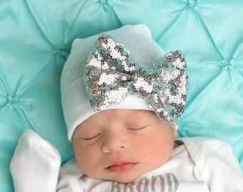 Newborn hat, hospital hat baby girl, newborn hospital hat, girl newborn hospital hat hat with bow
