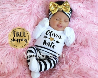 Baby Girl Clothes Newborn Girl Outfit Personalized Baby Girl Coming Home Outfit Mint Floral Outfit Silver Glitter