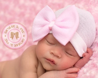 NEWBORN GIRL HAT - Baby Girl Hat -Baby's 1st Keepsake - baby girl christening - Newborn Hospital Hat with Bow, 2
