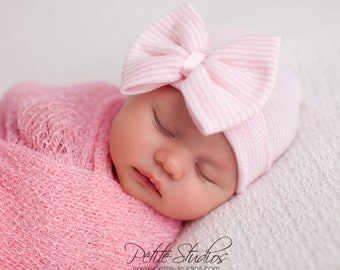 Hospital Newborn hat Newborn baby girl beanie bow hat Newborn Hat newborn  Coming home outift Baby Girl Hospital Hat Newborn Girl Hat 9795521c466a