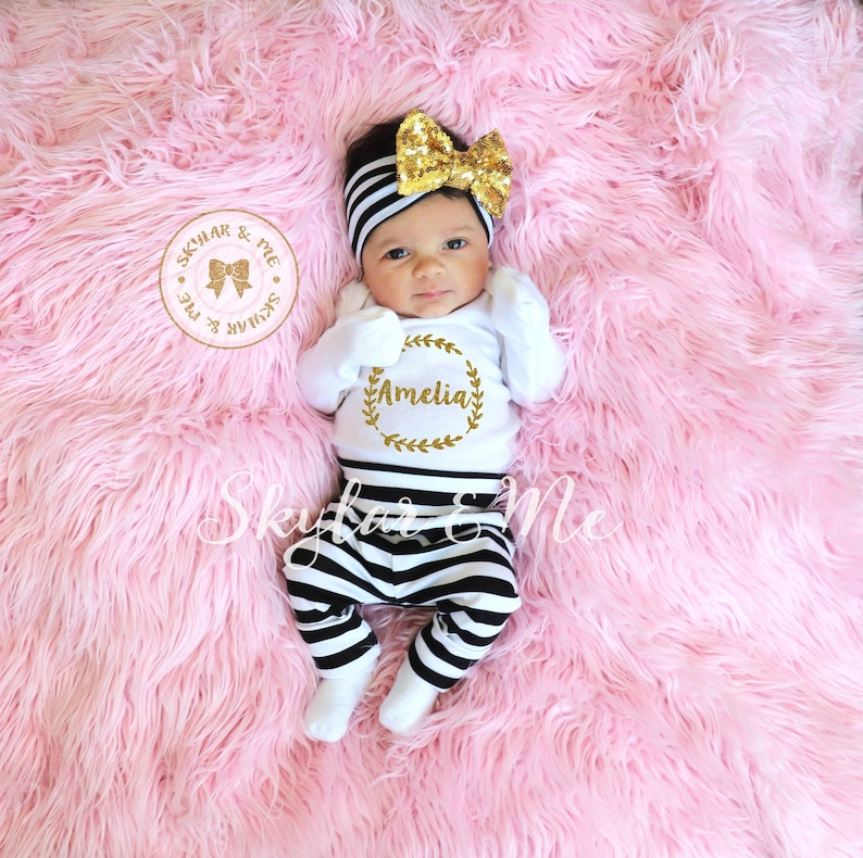4411294912b6c Newborn Girl Coming Home Outfit Personalized Baby Girl Take | Etsy